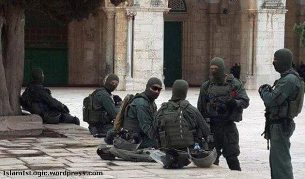 Al-Aqsa under occupation. Israel soldiers in the garden