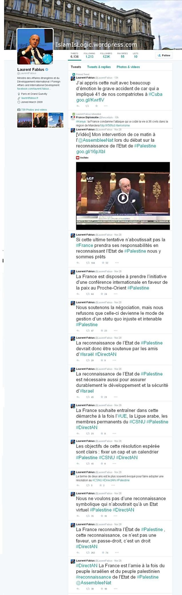 tweet Menteri Luar Negeri Prancis, Laurent Fabius